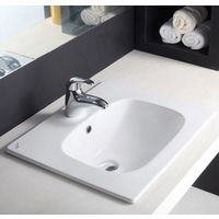 Hindware L480mm X W570mm X H210mm Optra Counter Top Self Rimming Wash Basin# 91008, starwhite