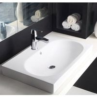 Hindware L465mm X W720mm X H170mm Kylis Counter Top Self Rimming Wash Basin# 91054, starwhite