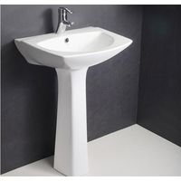 Hindware L550mm x W470mm x H860mm Neptune Full Pedestal Wash Basin with Complete Set# 10072/11029, starwhite