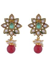 The Jewelbox Kundan Flower Pearl Red Green Stone M...