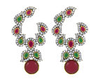 The Jewelbox Gold Plated Red Green Stone And American Diamond Designer Earring For Women