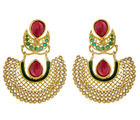The Jewelbox Gold Plated Pearl Red And Green Chaand Bali Earring For Women