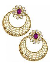 The Jewelbox Filigree Chaand Bali Gold Plated Purp...
