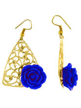 The Jewelbox Filigree Flower Blue 18K Gold Plated ...
