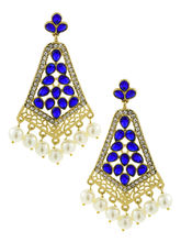 The Jewelbox Gold Plated Indigo Blue Pearl Filigre...