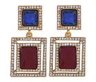 The Jewelbox Maroon & Blue Stone American Diamond Cocktail Square Earring For Women