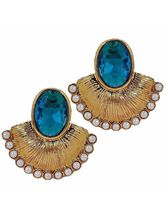 The Jewelbox Antique Fan Gold Plated Aqua Blue Pea...