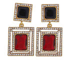 The Jewelbox Maroon & Black Stone American Diamond Cocktail Square Earring For Women