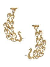 The Jewelbox 18K Gold Plated Peacock Pearl Ear Cuf...