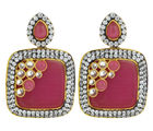 The Jewelbox Designer Pink Stone American Diamond Square Drop Earring For Women
