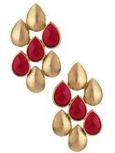 The Jewelbox Antique Matte Gold Plated Ruby Red Dr...