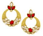 The Jewelbox Traditional Chand Bali Kundan Polki Red American Diamond CZ Gold Plated Earring For Women