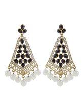 The Jewelbox Gold Plated Pearl Black Stone CZ Fili...