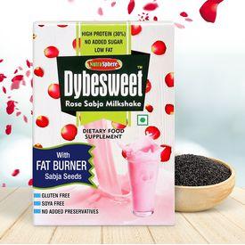 NutraSphere Instant Rose Falooda Shake with Sabja Seeds (Sugar Free, Fat Burner), 200 gms - 6 sachets