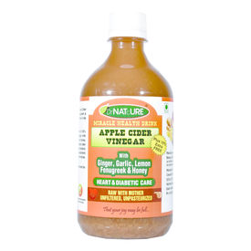 DrNATcURE Apple Cider Vinegar for Heart & Diabetic Care, Blended with Ginger, Garlic, Fenugreek, Lemon, Honey - 500 ml