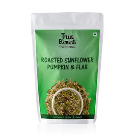 True Elements Roasted Sunflower Pumpkin and Flax Seeds, 125 grams