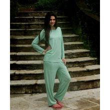 C107- Full T-shirt with matching Pyjamas, m,  green