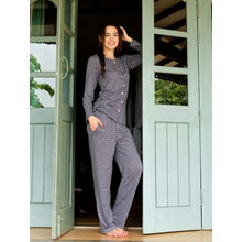 C129- Polka Dots Night Suit, l, charcoal light