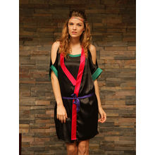 L40- Black Kimono Coat and Slip Dress with Colourful details, s,  black