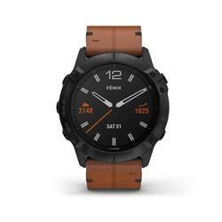 Garmin Fenix 6X Multisport GPS Watch, Black/Chestnut Leather Band