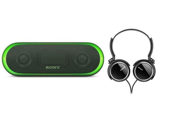 Sony XB20 Bluetooth Speaker, Green+ Sony XB250 Headphone, Black