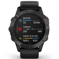 Garmin Fenix 6 Multisport GPS Watch, Sapphire/Carbon Grey
