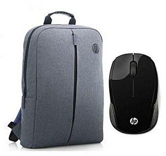 HP Value Backpack 15.6″ Grey+ HP 200 Wireless Mouse Black X6W31AA