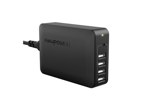 RAVPower 5 Ports USB Desktop Charger with USB-C PD 60W, Black