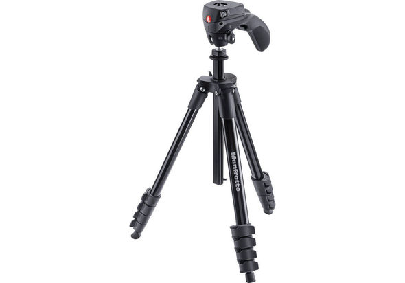 Manfrotto Compact Action Aluminum Tripod Bundle, Black