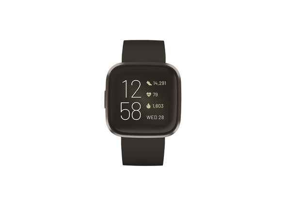 Fitbit Versa 2 Fitness Smartwatch,  Black/Carbon Aluminum