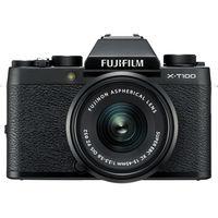 كاميرا فوجي فيلم X-T100 بدون مرآه مع عدسة 15-45 مم,  أسود