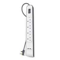 Belkin 4 Way/ 4 Plug Surge Protection Extension Lead Strip with 2 x 2.4 A Shared USB Charging Port, 2 m Cable - White