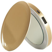 Sanho HyperJuice Pearl Compact Mirror with Rechargeable Battery Pack, Gold