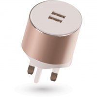 Kit Platinum Dual USB Mains Charger 3.4A Auto Detect, Rose Gold