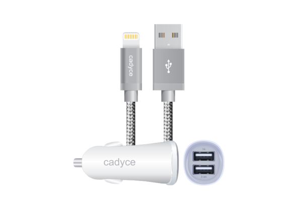 Cadyce 3.4A Dual Car Charger with Lightning Cable 1m