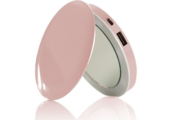 Sanho HyperJuice Pearl Compact Mirror with Rechargeable Battery Pack, Rose