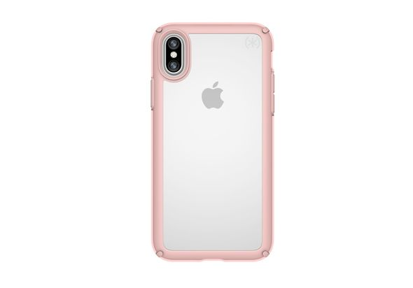 Speck Presidio Show Case for iPhone X, Clear/Rose Gold