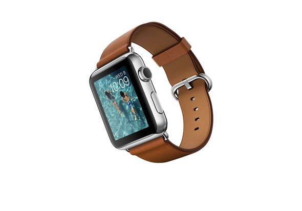 Apple Watch Sport, 42mm Stainless Steel Case with Saddle Brown Classic Buckle