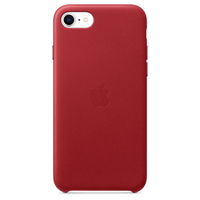 Apple iPhone SE Leather Case,  أحمر