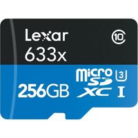 Lexar 256GB Micro SDHC 633x UHI Memory Card with SD Adapter