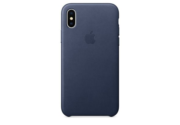 Apple iPhone X Leather Case, Midnight Blue