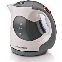 Black & Decker JC120-B5 1 Liter Concealed Coil Electric Kettle, Grey/White