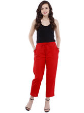 Pearly Cotton Linen Ancle Length Smart Fit Trouser (PPA106), s, red