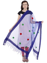 Pearly Women's Silk Royal Blue With Fancy Embroidred Dupatta (PDT103), royal blue