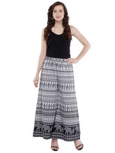 Pearly Women's Crepe Multi Printed Flaired Plazzo Pant (PP116), l, black