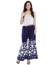 Pearly Women's Crpe Multi Printed Flaired Plazzo Pant (PP113), s, navy blue