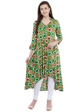 Pearly Women's Cotton Tie & Die Printed Front Button Striaght Kurti (PK134), xl, multicolor