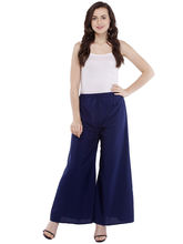 Pearly Women's Crepe Plain Flaired Plazzo Pant (PP103), s, navy blue