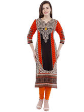 Pearly Women's Cotton Art Printed With Fancy Tussal Straight Kurti (PK108), m, multicolor