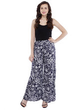 Pearly Women's Ryon Paisely Printed Flaired Plazzo Pant (PP114), s, navy blue